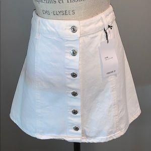 White denim button down skirt